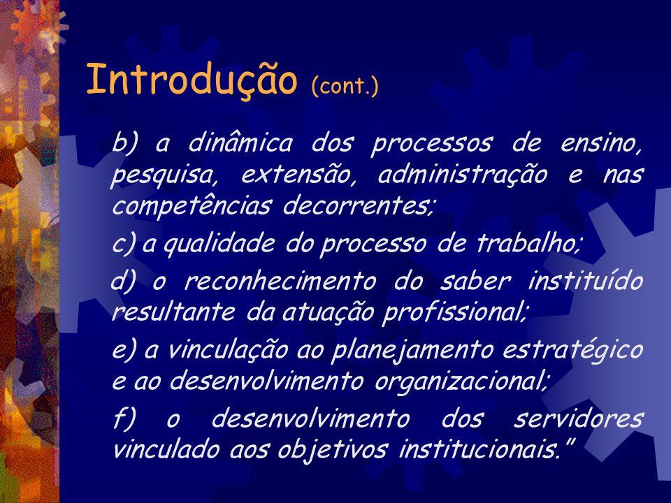Introdução (cont.) c) a qualidade do processo de trabalho;