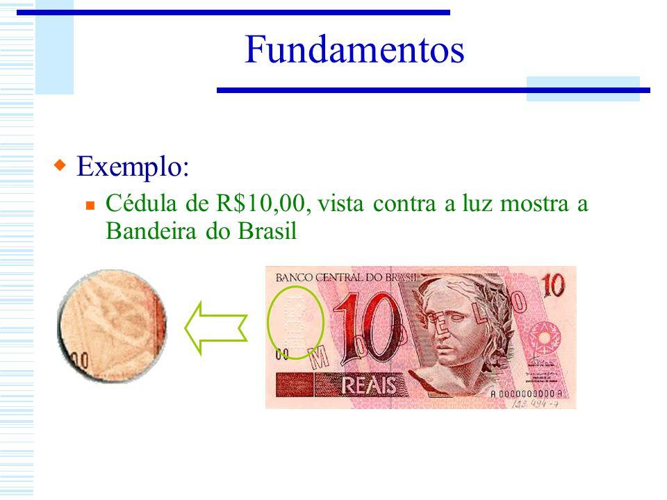 Fundamentos Exemplo: Cédula de R$10,00, vista contra a luz mostra a Bandeira do Brasil