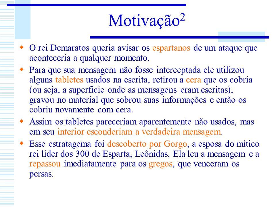 Motivação2 O rei Demaratos queria avisar os espartanos de um ataque que aconteceria a qualquer momento.