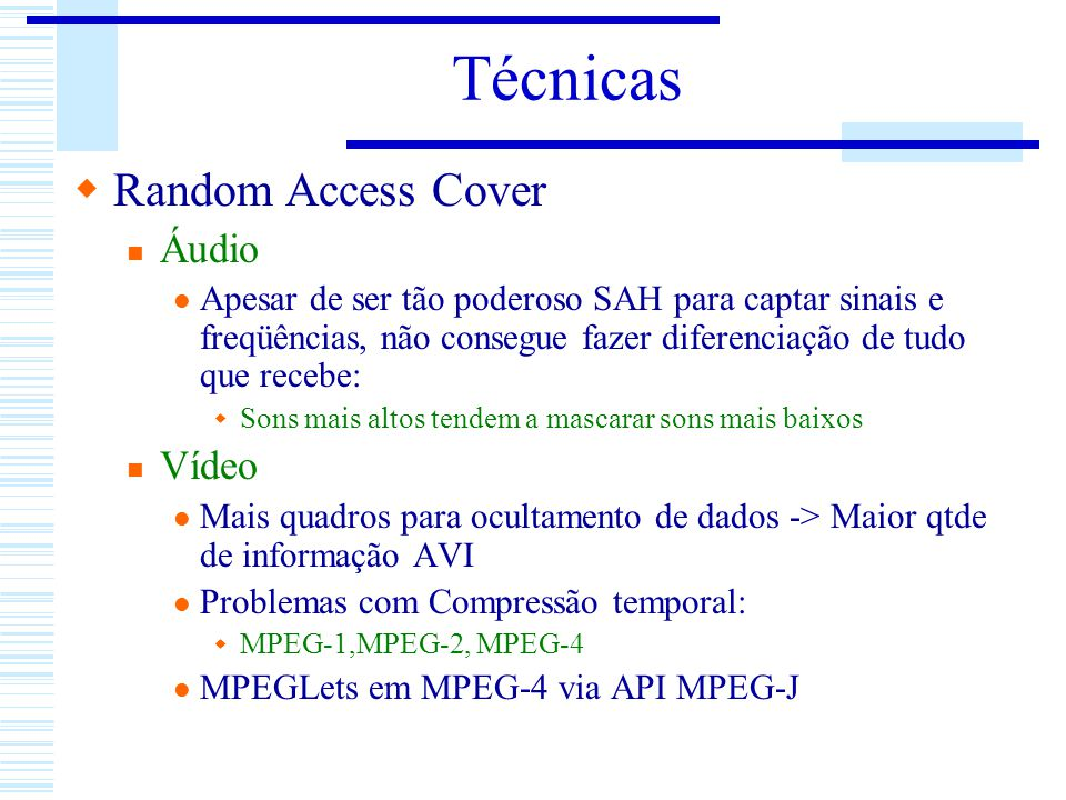 Técnicas Random Access Cover Áudio Vídeo