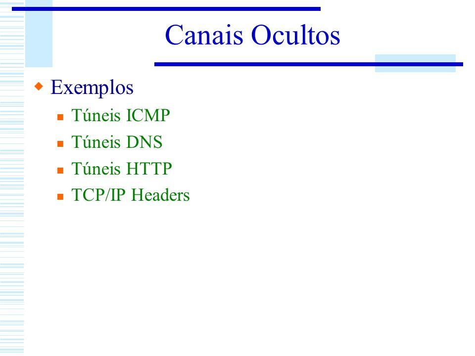 Canais Ocultos Exemplos Túneis ICMP Túneis DNS Túneis HTTP