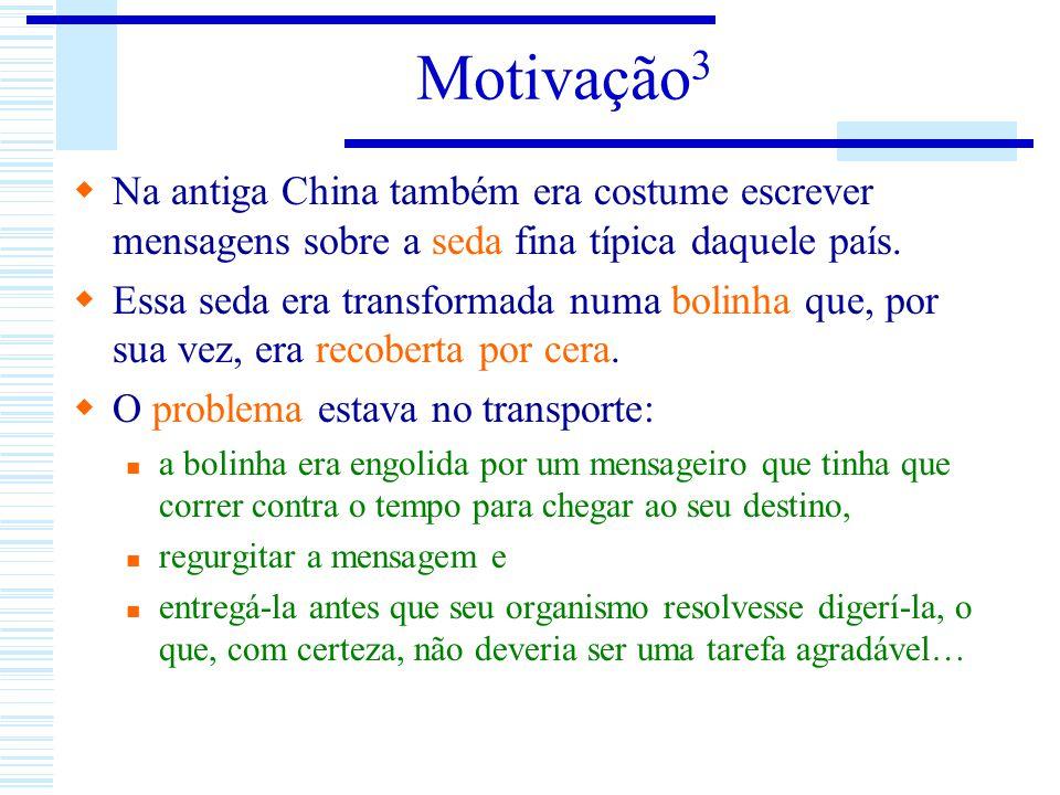 Motivação3 Na antiga China também era costume escrever mensagens sobre a seda fina típica daquele país.