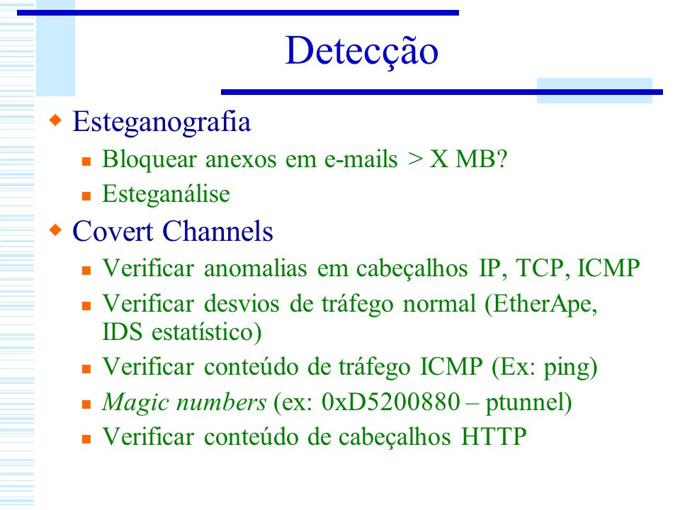 Detecção Esteganografia Covert Channels