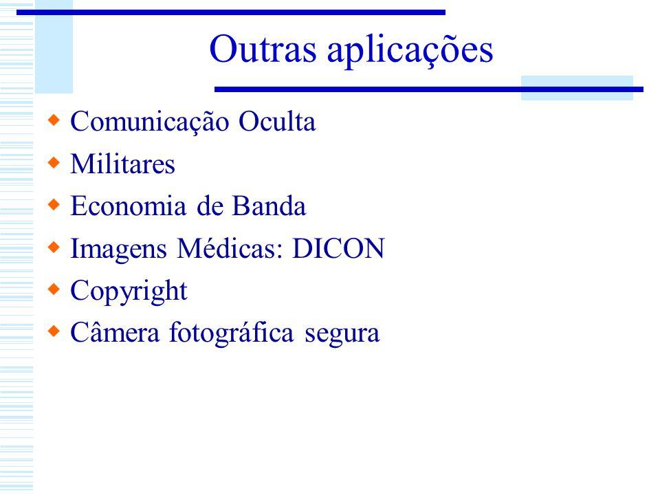 Outras aplicações Comunicação Oculta Militares Economia de Banda