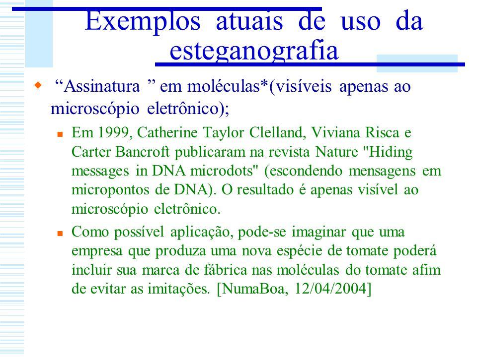 Exemplos atuais de uso da esteganografia
