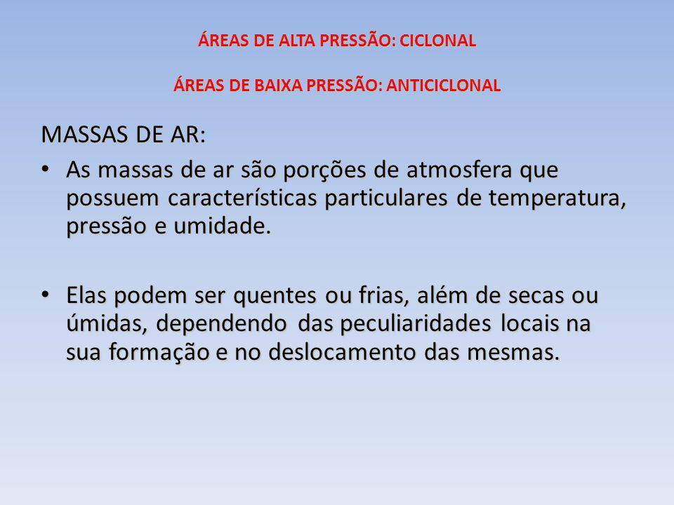 ÁREAS DE ALTA PRESSÃO: CICLONAL ÁREAS DE BAIXA PRESSÃO: ANTICICLONAL