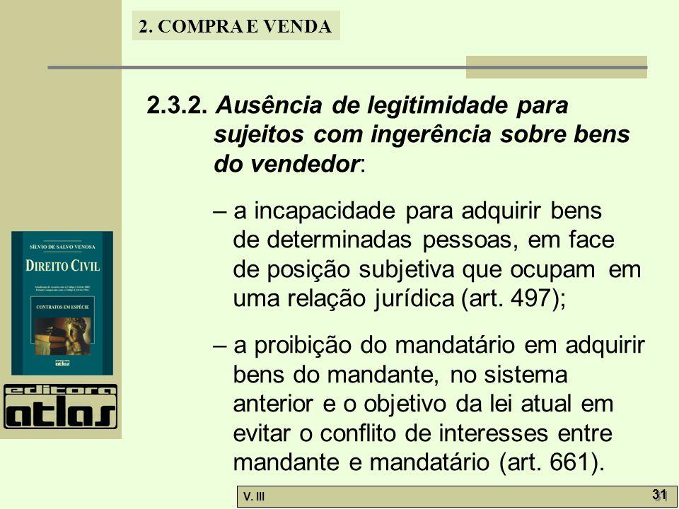 2.3.2. Ausência de legitimidade para sujeitos com ingerência sobre bens do vendedor: