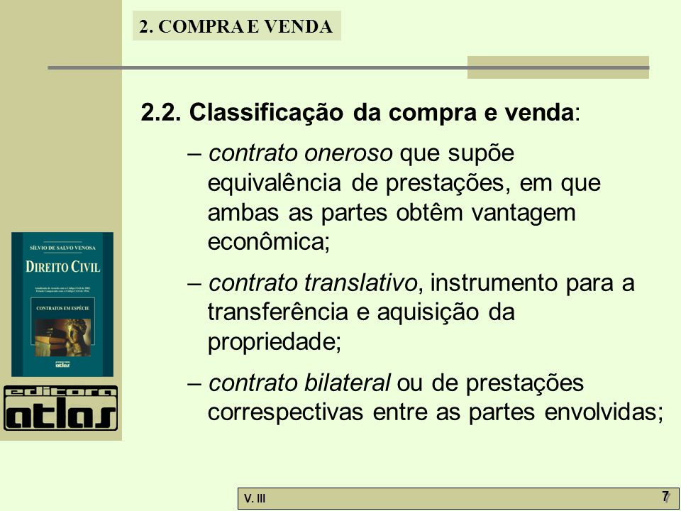 2.2. Classificação da compra e venda:
