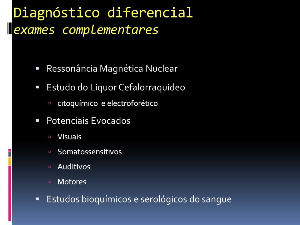 Diagnóstico diferencial exames complementares