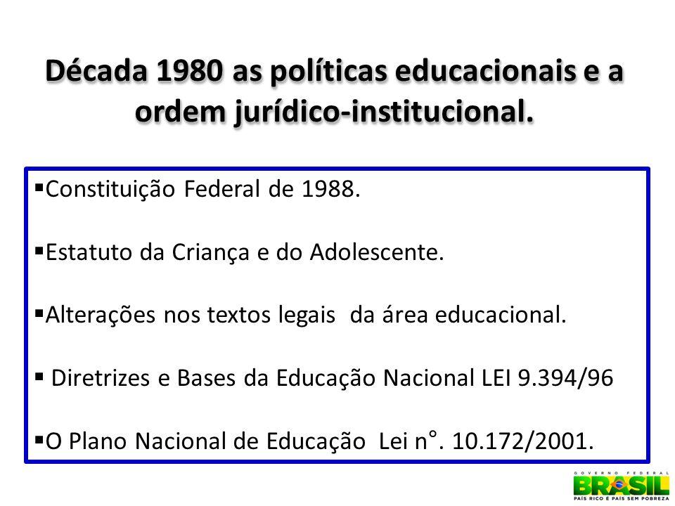 Década 1980 as políticas educacionais e a ordem jurídico-institucional.