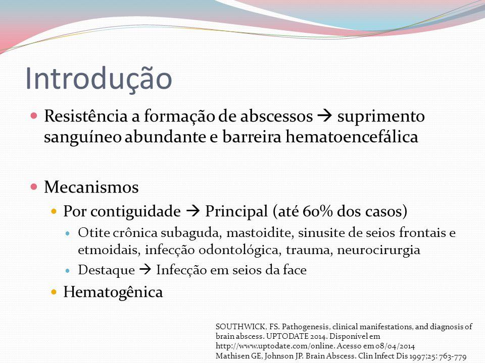 Introdução Resistência a formação de abscessos  suprimento sanguíneo abundante e barreira hematoencefálica.