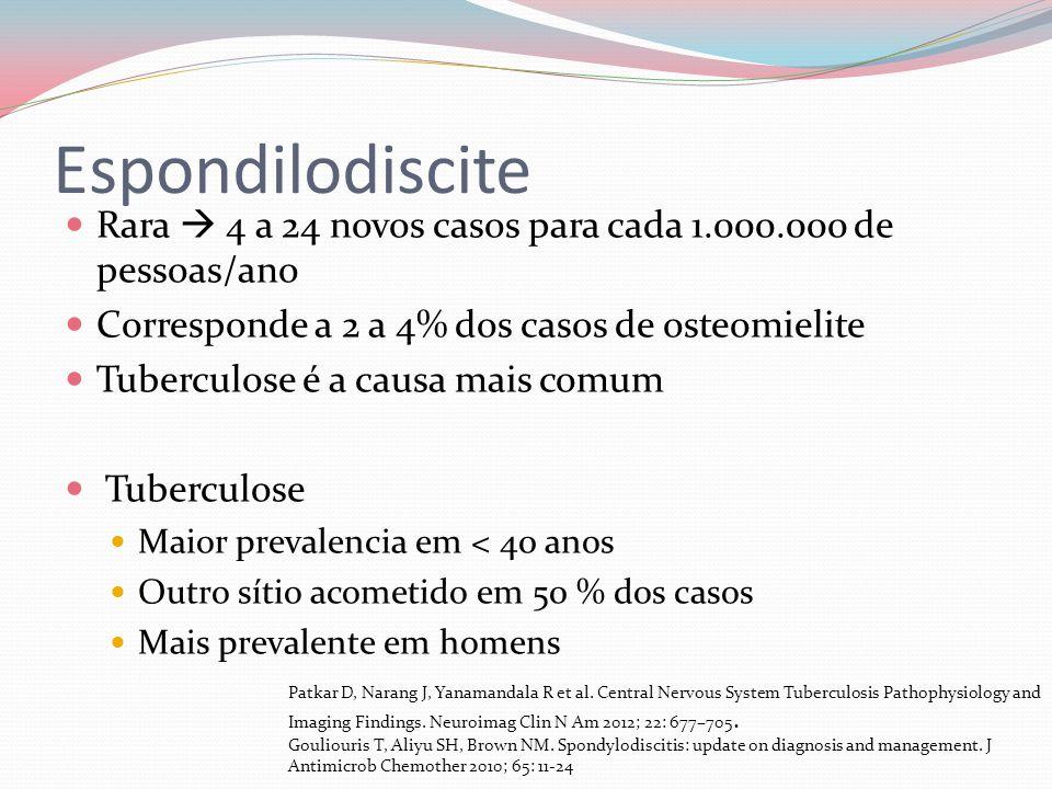 Espondilodiscite Rara  4 a 24 novos casos para cada 1.000.000 de pessoas/ano. Corresponde a 2 a 4% dos casos de osteomielite.