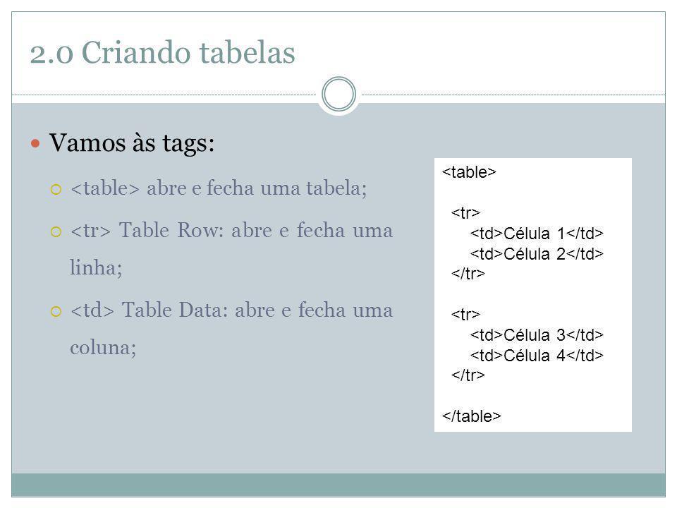 2.0 Criando tabelas Vamos às tags: