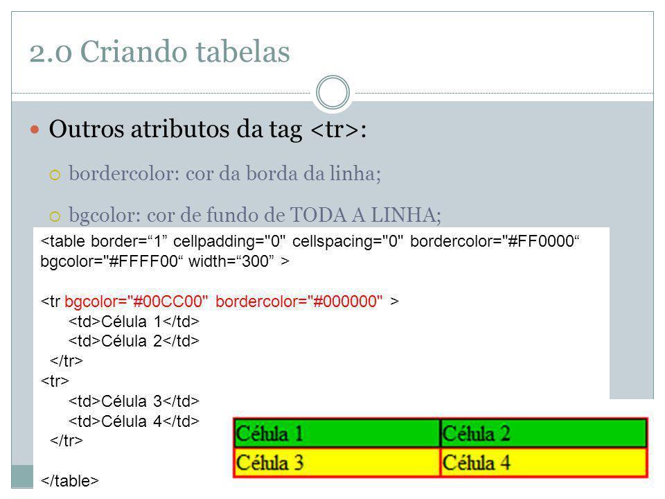 2.0 Criando tabelas Outros atributos da tag <tr>: