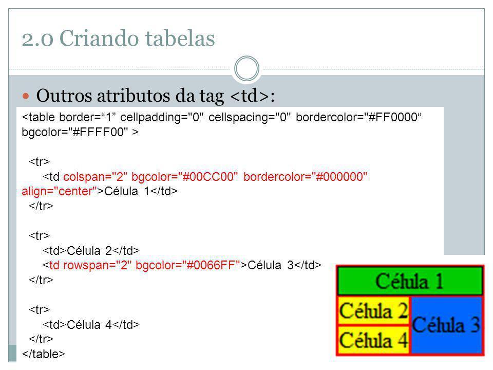 2.0 Criando tabelas Outros atributos da tag <td>: