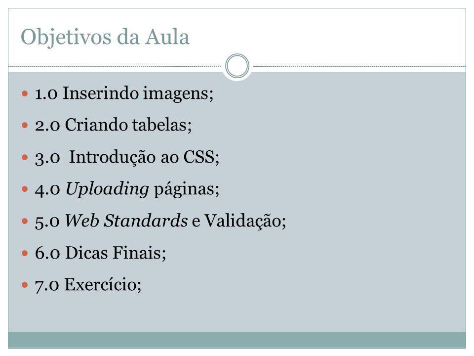 Objetivos da Aula 1.0 Inserindo imagens; 2.0 Criando tabelas;