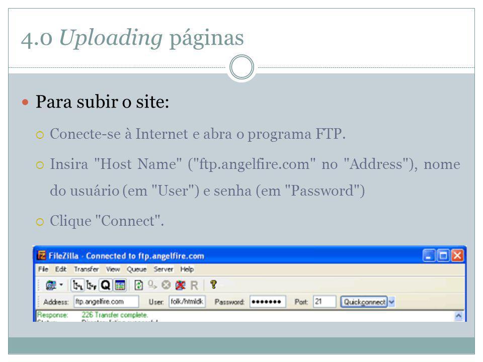 4.0 Uploading páginas Para subir o site: