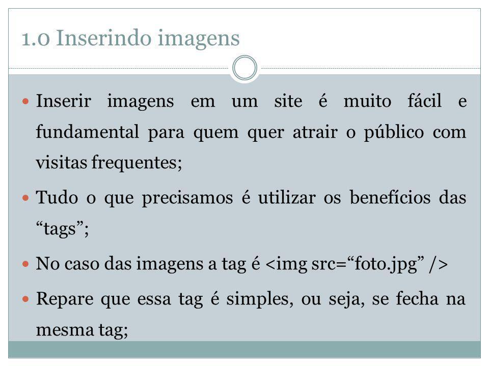 1.0 Inserindo imagens Inserir imagens em um site é muito fácil e fundamental para quem quer atrair o público com visitas frequentes;