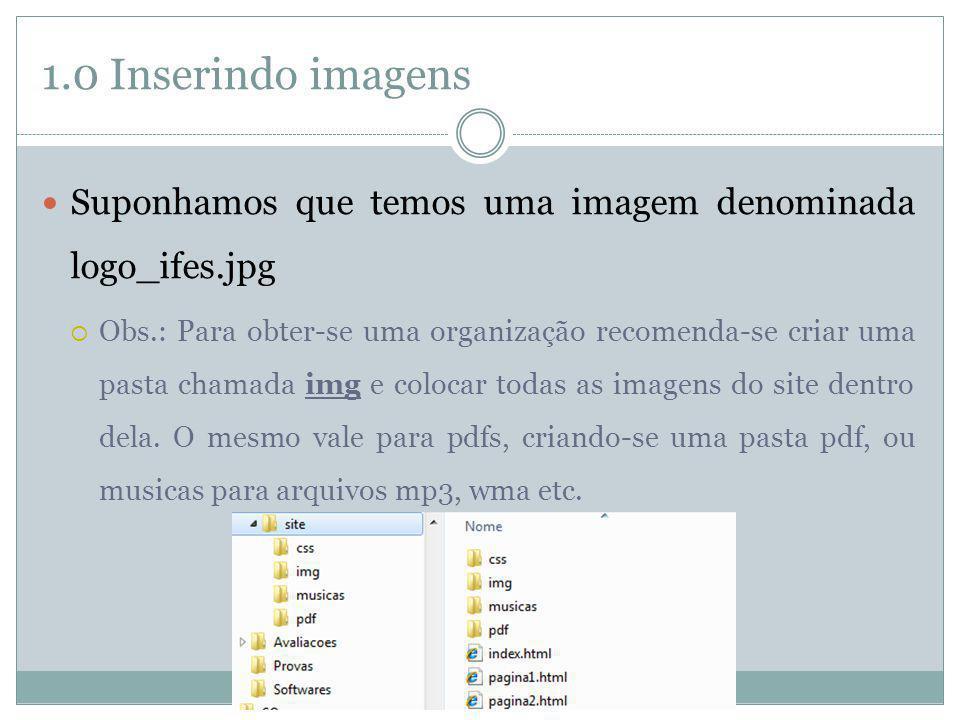 1.0 Inserindo imagens Suponhamos que temos uma imagem denominada logo_ifes.jpg.
