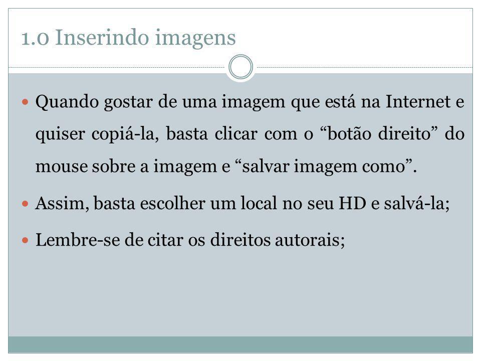 1.0 Inserindo imagens