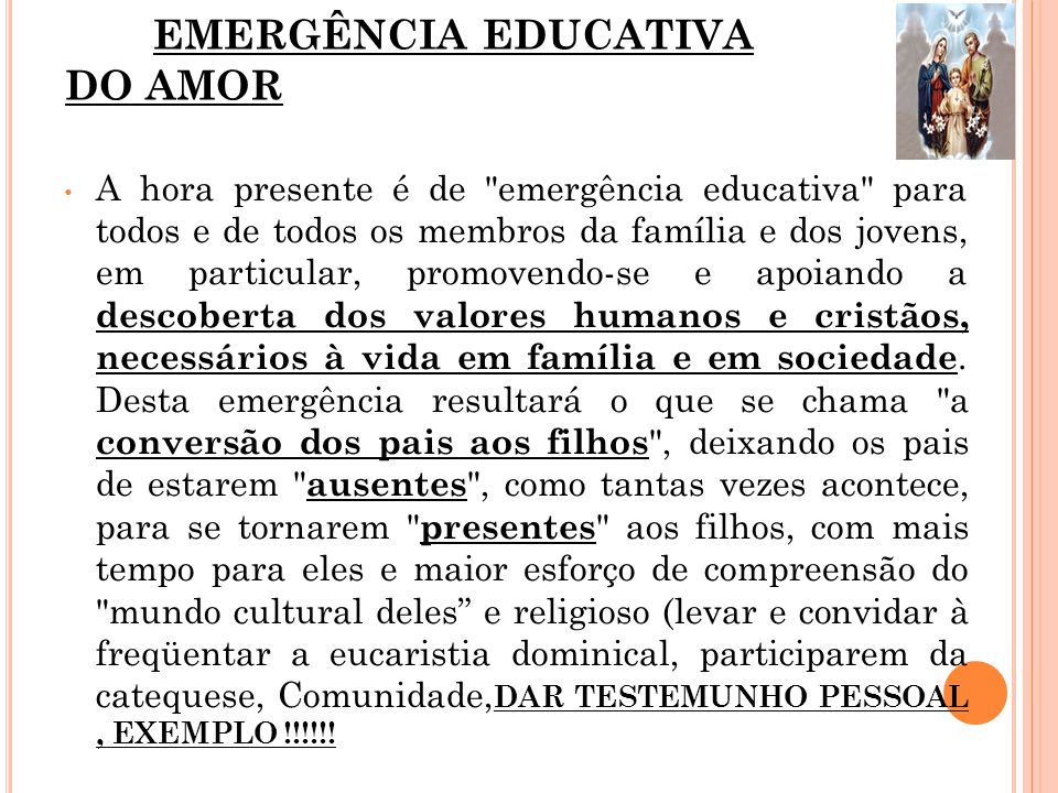 EMERGÊNCIA EDUCATIVA DO AMOR