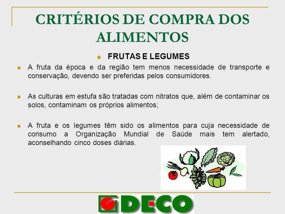 CRITÉRIOS DE COMPRA DOS ALIMENTOS