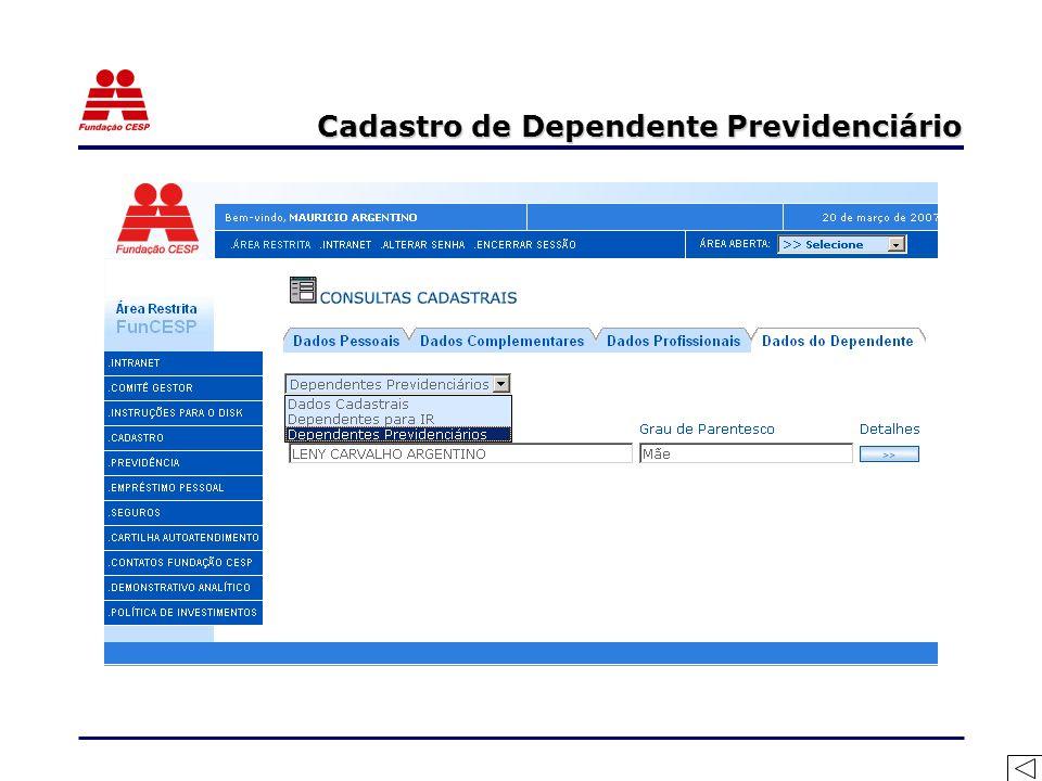 Cadastro de Dependente Previdenciário