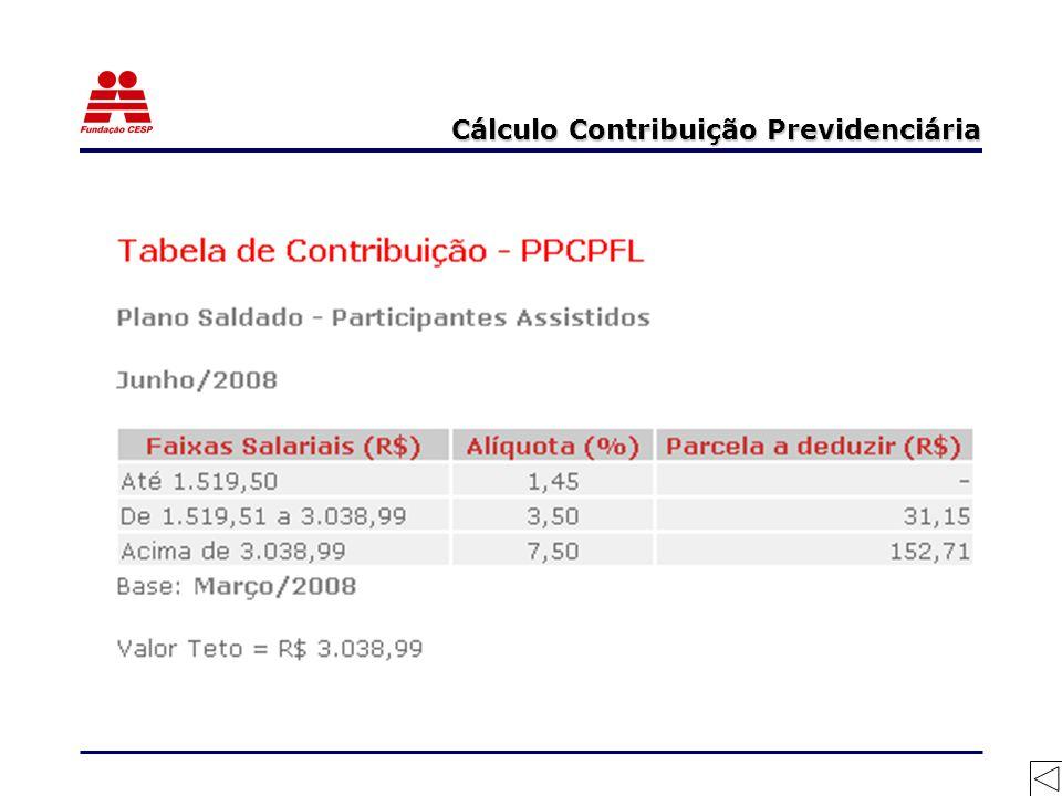 Cálculo Contribuição Previdenciária