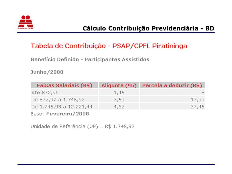 Cálculo Contribuição Previdenciária - BD
