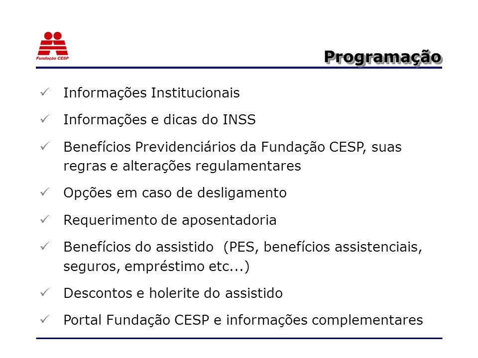Programação Informações Institucionais Informações e dicas do INSS