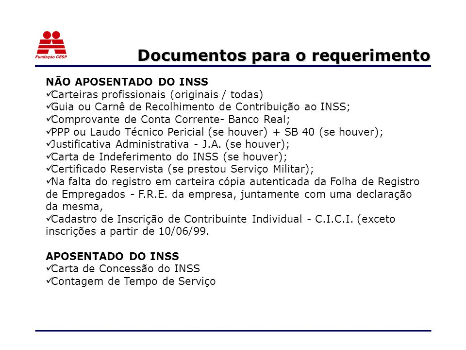 Documentos para o requerimento