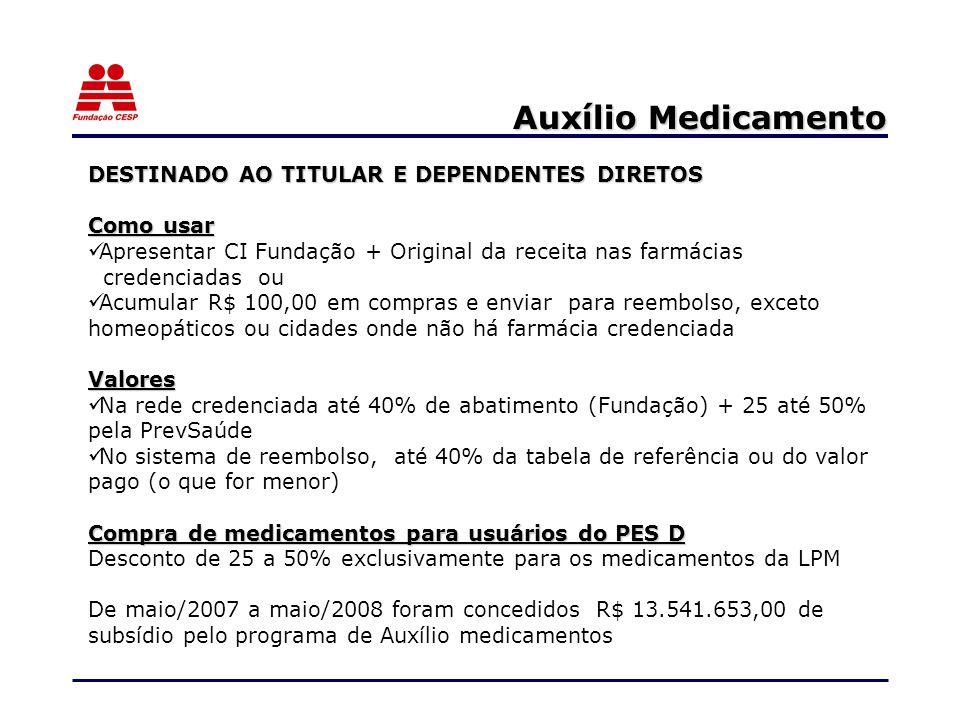 Auxílio Medicamento DESTINADO AO TITULAR E DEPENDENTES DIRETOS