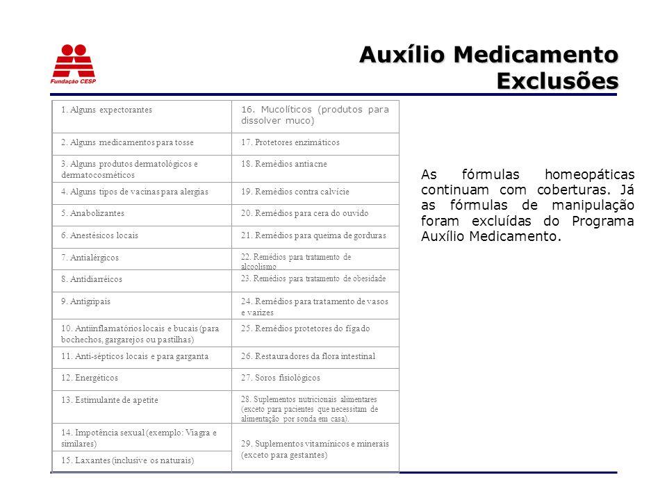 Auxílio Medicamento Exclusões