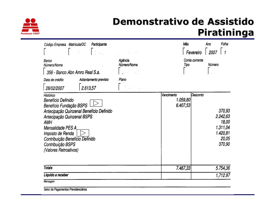 Demonstrativo de Assistido Piratininga