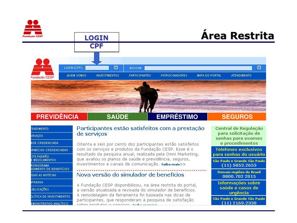 Área Restrita LOGIN CPF