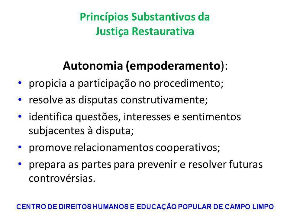 Princípios Substantivos da Justiça Restaurativa
