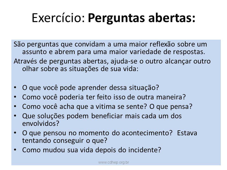 Exercício: Perguntas abertas: