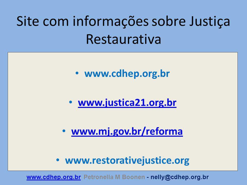Site com informações sobre Justiça Restaurativa
