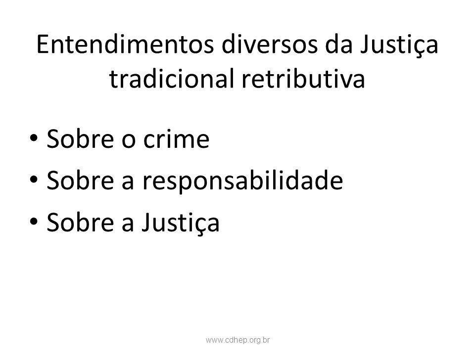 Entendimentos diversos da Justiça tradicional retributiva
