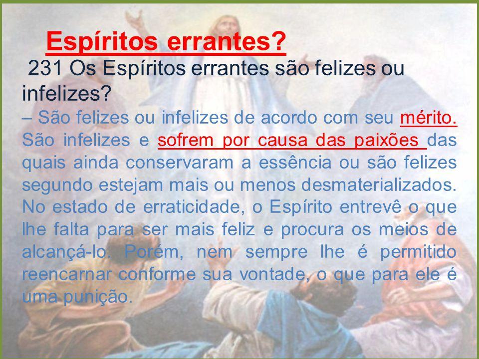 Espíritos errantes 231 Os Espíritos errantes são felizes ou infelizes