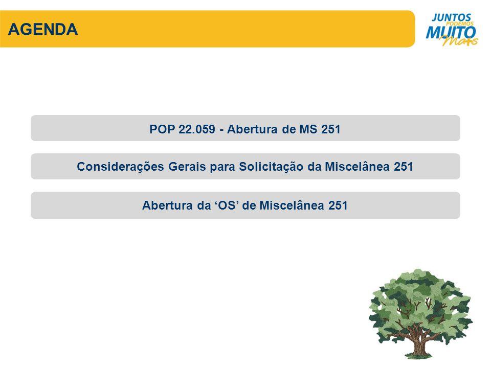 AGENDA POP 22.059 - Abertura de MS 251
