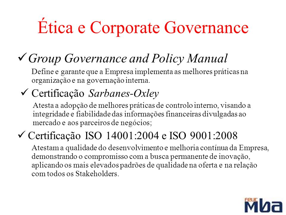 Ética e Corporate Governance
