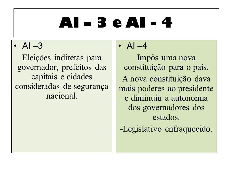 AI – 3 e AI - 4 AI –3. Eleições indiretas para governador, prefeitos das capitais e cidades consideradas de segurança nacional.