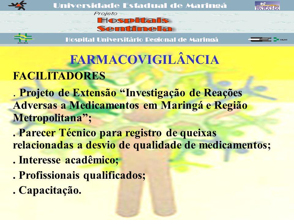 FARMACOVIGILÂNCIA FACILITADORES. . Projeto de Extensão Investigação de Reações Adversas a Medicamentos em Maringá e Região Metropolitana ;
