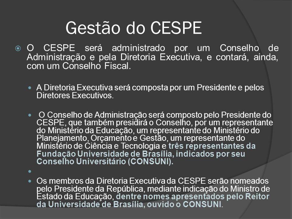 Gestão do CESPE O CESPE será administrado por um Conselho de Administração e pela Diretoria Executiva, e contará, ainda, com um Conselho Fiscal.