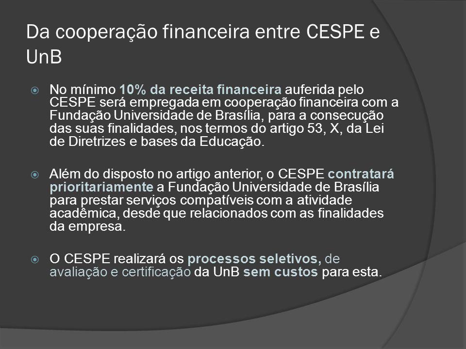 Da cooperação financeira entre CESPE e UnB