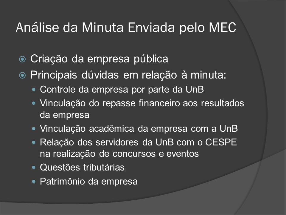Análise da Minuta Enviada pelo MEC