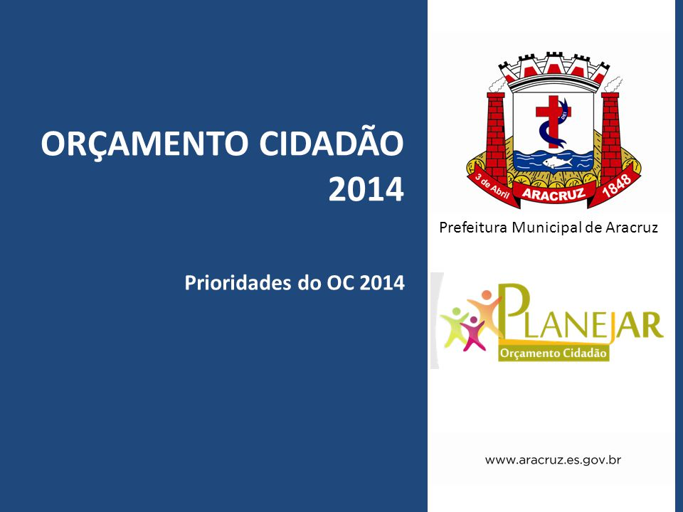 ORÇAMENTO CIDADÃO 2014 Prioridades do OC 2014