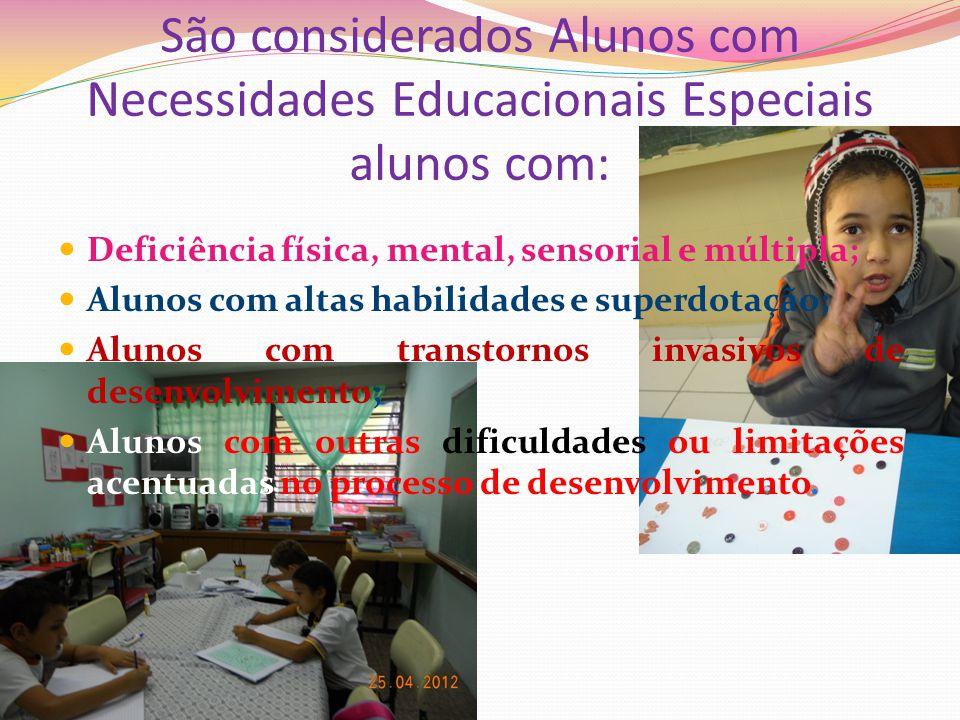 São considerados Alunos com Necessidades Educacionais Especiais alunos com:
