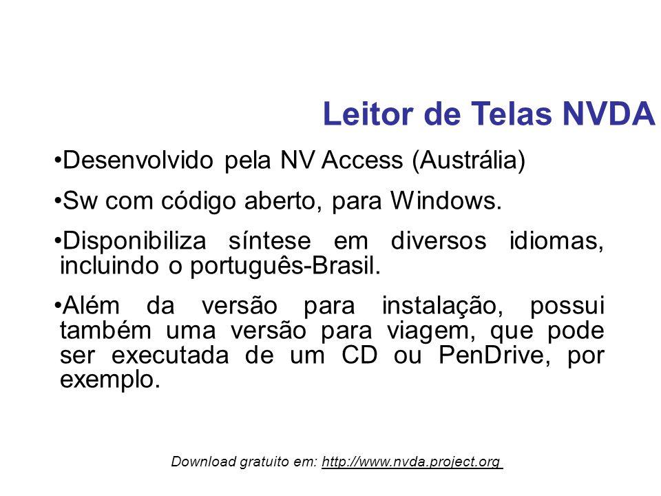 Leitor de Telas NVDA Desenvolvido pela NV Access (Austrália)